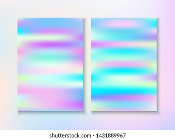 Modern Glitch Rainbow Music Party Vector Poster Set. Pastel Pearlescent Cover, Blank Paper, Teal. Graphic Template. Hologram Gradient Overlay. Energy Rainbow Party Glitch Background.