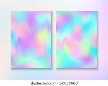 Modern Glitch Rainbow Music Party Vector Poster Set. Holographic Gradient Overlay. Laser Certificate. Dreamy Pearlescent Cover, Blank Paper, Teal. Energy Rainbow Party Glitch Background.