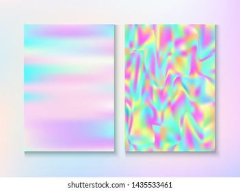Modern Glitch Rainbow Music Party Vector Poster Set. Fractal Template. Fairy Pearlescent Cover, Blank Paper, Teal. Hologram Gradient Overlay. Energy Rainbow Party Glitch Background.