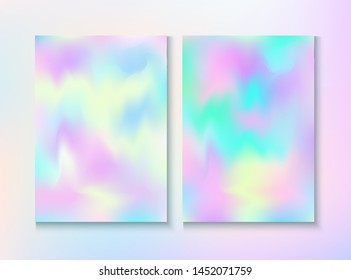 Modern Glitch Rainbow Music Party Vector Poster Set. Holograph Gradient Overlay. Bright Template. Fairy Vivid Neon Cover, Blank Paper, Teal. Energy Rainbow Party Glitch Background.