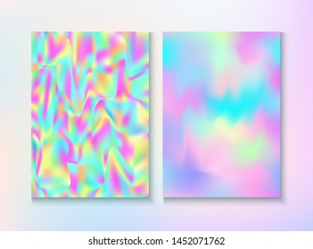 Modern Glitch Rainbow Music Party Vector Poster Set. Hologram Gradient Overlay. Pastel Pearlescent Cover, Blank Paper, Teal. Graphic Certificate. Energy Rainbow Party Glitch Background.