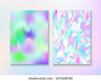 Modern Glitch Rainbow Music Party Vector Poster Set. Dreamy Pearlescent Cover, Blank Paper, Teal. Holographic Gradient Overlay. Chrome Illustration. Energy Rainbow Party Glitch Background.