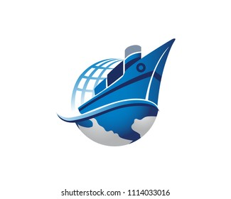Modern Global Fast International Shipping Cargo Logo Illustration In Isolated White Background