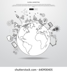Modern globe with application icon, modern template design. Vector illustration