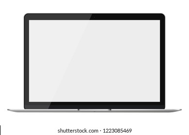 Modern glossy laptop isolated on white background. Vector illustration.