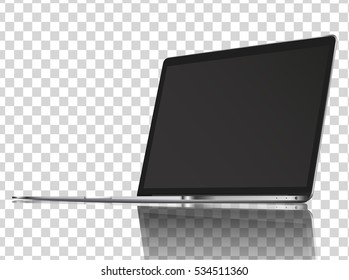 Modern glossy laptop with reflections on transparent background. Vector illustration. EPS10.