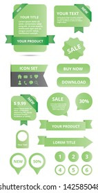modern glossy web elements set green