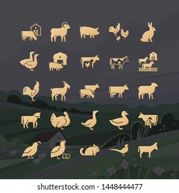 Modern glyphs of farm animals icons from 25 icons drawn in vector and isolated on the background vector illustration of a village with a house, mountains, and plants.