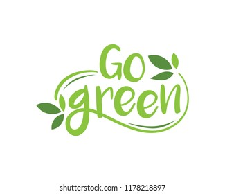 Modern Go Green Environment Label Logo Illustration In Isolated White Background