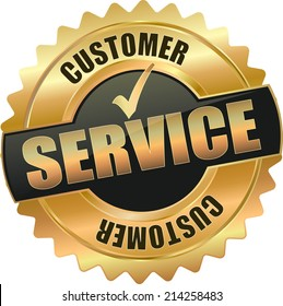 modern gold black customer service vector eps10 badge sign
