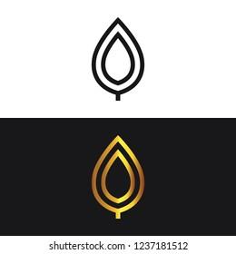Modern gold logo,  leaf design, abstract, emblem logo, vector