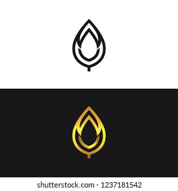 Modern gold logo,  leaf design, abstract, emblem logo, vector