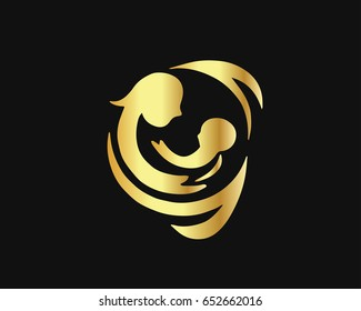 Modern Gold Mother And Baby Logo -