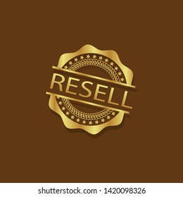 modern gold stamp with text resell - gold rubber stamp