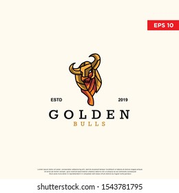 modern golden bull logo. simple icon, template design