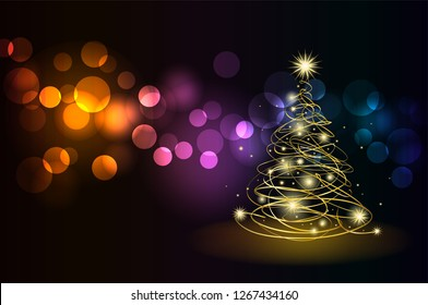 Modern golden Christmas tree - Possible to create holiday cards and ornaments.