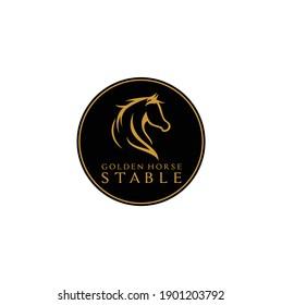 Modern Golden Head Horse Stallion Stable Vector Illustration Isolated on White Background Logo Design