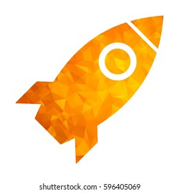 Modern golden low poly rocket icon. Flat vector cartoon illustration. Objects isolated on a white background.