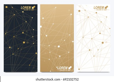 Modern golden set of vector flyer, banners. Modern stylish polygonal pattern with connected line and dots. Molecule and communication background for medicine, science, technology, chemistry