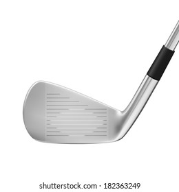 Modern golf club, close up  - isolated on white background. Photo-realistic vector.