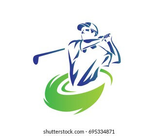 Modern Golf Logo - Flaming Blue Golfer Swing