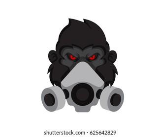 Modern Gorilla Wearing Anti-Toxic Pollution Mask Logo Illustration