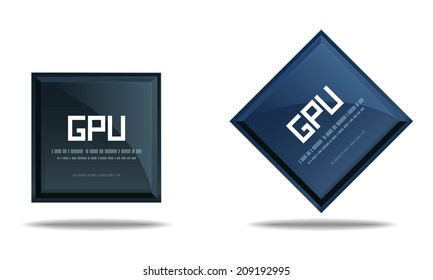 Modern GPU Graphics processing unit symbol - Computer chip or microchip icon isolated on white background. Vector illustration