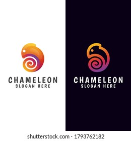 modern gradient chameleon logo with line version vector template