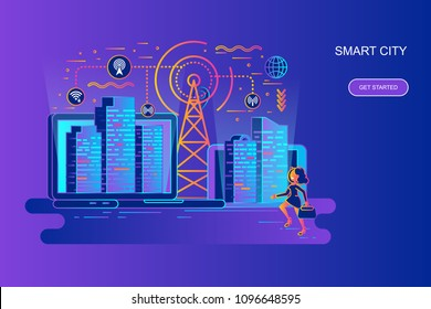 Modern gradient flat line concept web banner of smart city with decorated small people character. Landing page template. Conceptual vector illustration for web and graphic design, marketing.