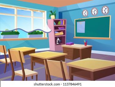 Modern gradient flat vector illustration of cartoon empty school classroom interior. Education class room school concept background.
