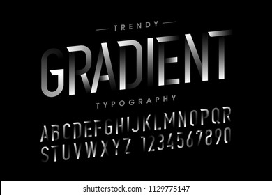 Modern gradient font, alphabet and numbers vector illustration