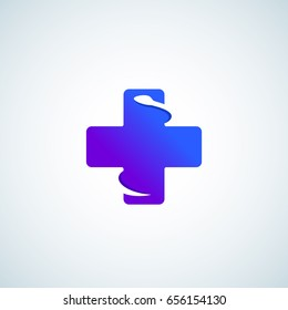 Modern Gradient Plus or Cross with Negative Space Snake. Abstract Vector Sign, Emblem, Icon or Logo Template. Minimalistic Medical Symbol. Isolated.