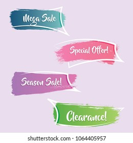 modern gradient promotion ribbon banner, scroll, price tag, sticker, badge, poster. Vector illustration
