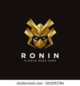 Modern gradient samurai ronin, Japanese warrior logo icon vector template on dark background