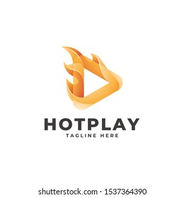 Modern Gradient Triangle Play Button and Fire Flame Logo Icon
