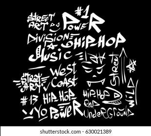 Modern graffiti tags on a black background. Vector art.