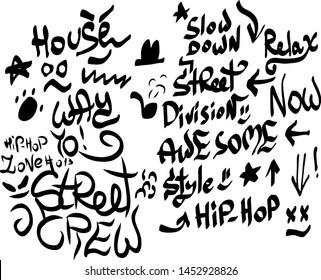 Modern graffiti tags on a white background. Vector art.