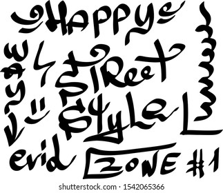 Modern graffiti tags on a white background. Vector art.