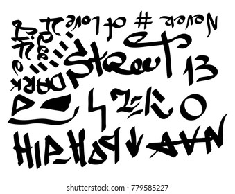 Modern graffiti tags on a white background.