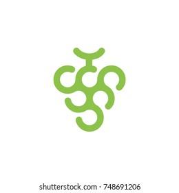 Modern Grape Wine Fruit Logo Vector Design