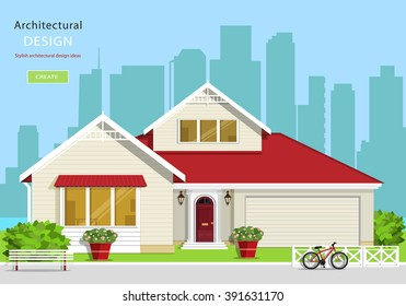 Modern graphic architectural design. Colorful set: house, bench, yard, bicycle, flowers and trees. Flat style vector illustration.