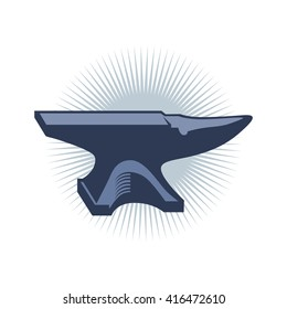Modern graphic illustration of an iron anvil in vector format over white isolated background