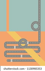 Modern Graphic Roadmaps Series Colorful art with Road pieces and Banners with Copy Space, Flat Design Vertical