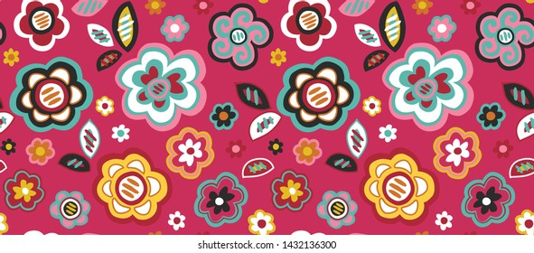 Modern Graphic Seamless Vector Flowers on a Pink Ground Inspired by Mola Patterns from Panama