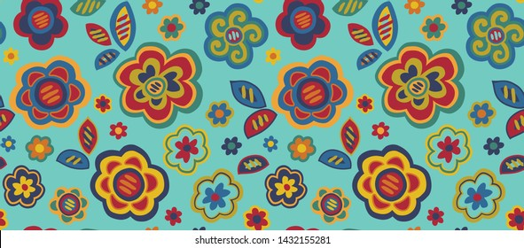 Modern Graphic Seamless Vector Flowers on a Teal Ground Inspired by Mola Patterns from Panama