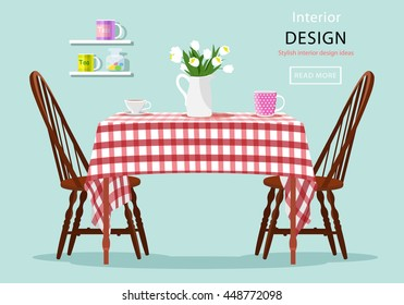 Modern graphic vector concept of dining table with chairs, cups and flowers. Kitchen and cafe interior design. Flat style vector illustration. Table with red and white checked cloth.