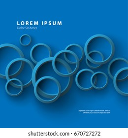 Modern Graphic/Design Elements. Abstract Template with Clean Minimal Style. Overlapping Rings in Blue Background