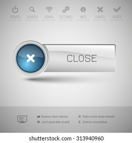 Modern gray button with blue glossy area for icon.
