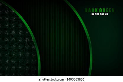 Modern green abstract background overlap layer on dark space with metallic frame for design template. Texture with green glitters dots element decoration.