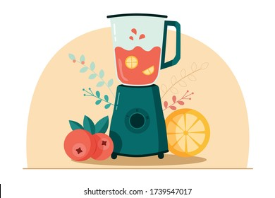 Modern green blender cooking smoothie with juicy lemon and cranberries on each side and floral pattern at the background